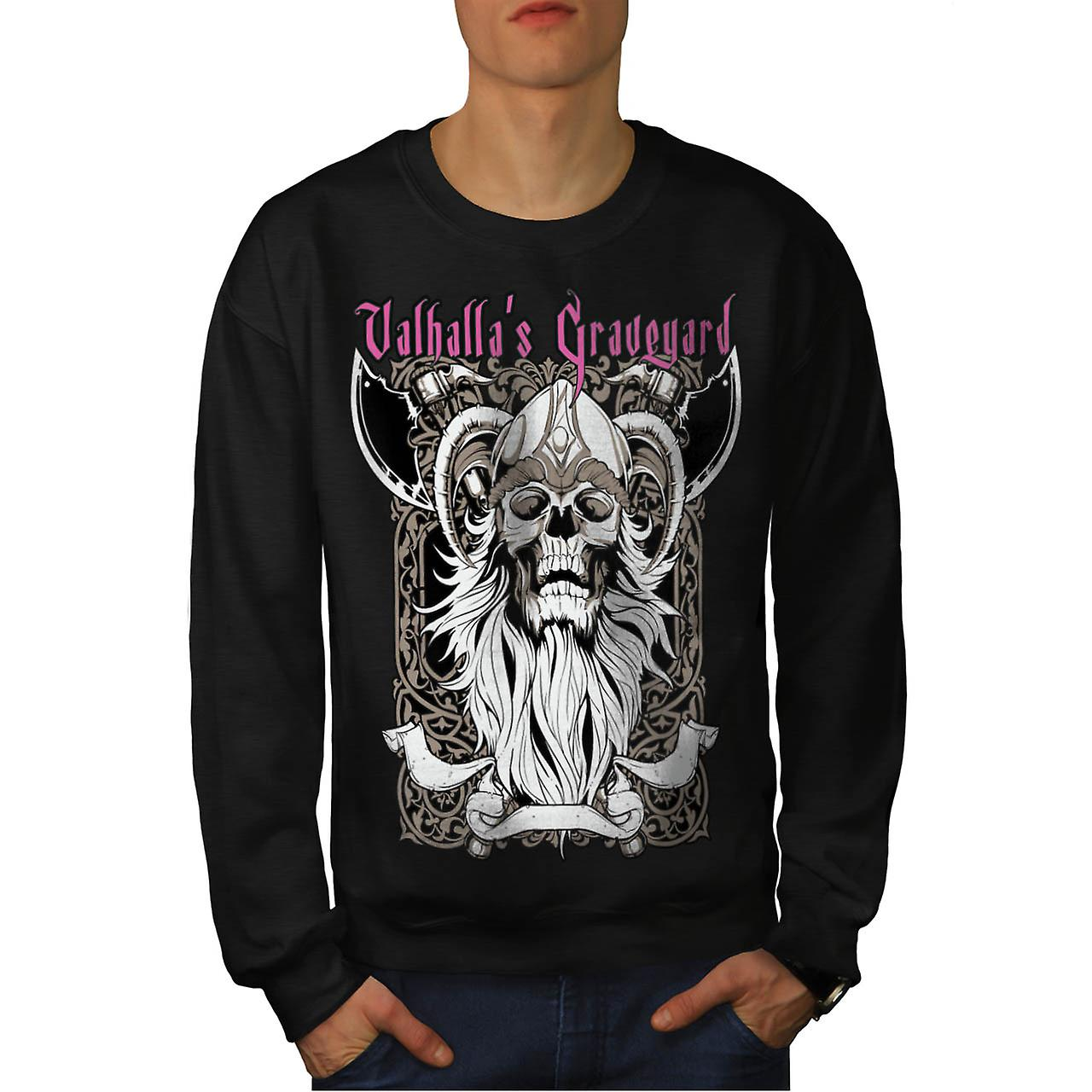 Valhalla Graveyard Monster Skull Men Black Sweatshirt | Wellcoda