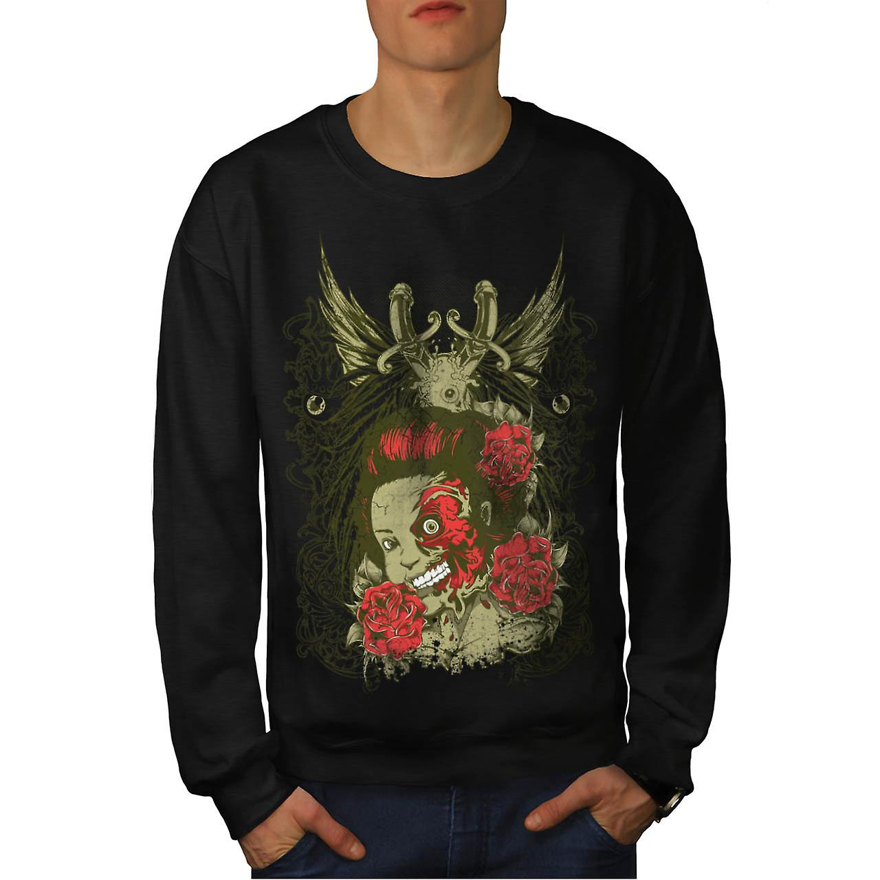 Dead Girl Rose Zombie Men Black Sweatshirt | Wellcoda