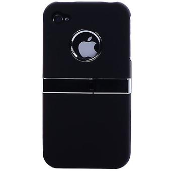 Copertina rigida con chrome e supporto (nero)-iPhone 4/4S