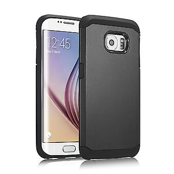Cover armor 2 PC plastic parts, rubber TPU case for Samsung Galaxy S6 Edge (black)