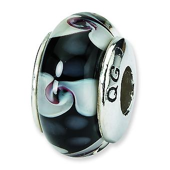 Ster. Silver Reflections Black White Murano Glass Bead Charm