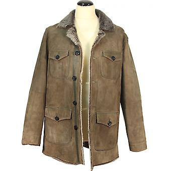 Mallor - lambskin men coat olive Wintermantell Shearling collar leather jacket