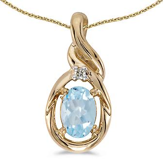10k Yellow Gold Oval Aquamarine And Diamond Pendant with 16