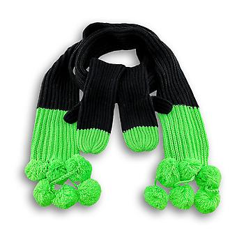 Soft Black Knit Scarf and Mittens with Neon Ends and Pom Poms