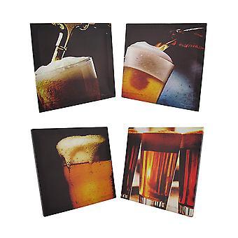 Set of 4 Art Of Beer Printed Canvas Wall Hangings