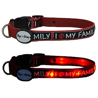 Dog E Glow I Love My Family Collar Small 8-12
