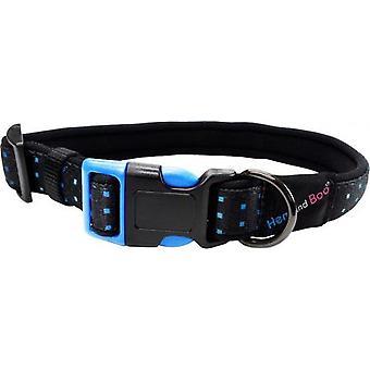 Hem & Boo Nylon Adjustable Padded Collar Skye Dog Blue Squares 19mm X25-30cm