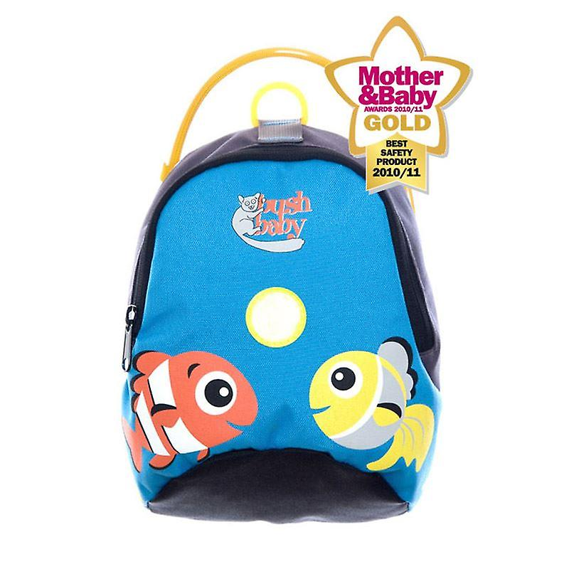 Bushbaby Minipack Toddler Backpack And Reins Ocean Blue Fish 3 Way Harness Brand New