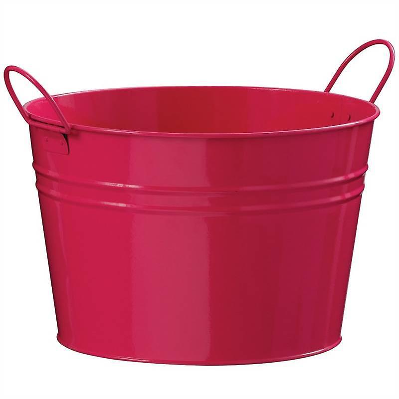 Round Zinc Bucket Pink