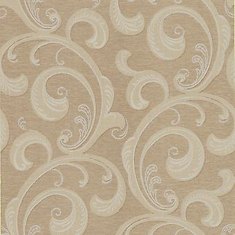 Damast-Tapete Scroll klassische Kenneth James metallische Bronze Creme