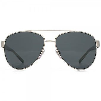 Burberry Stripe Temple Aviator Sunglasses In Brushed Silver