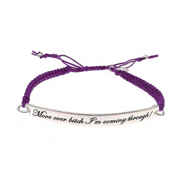 W.A.T Purple Macrame Cord 'Move Over Bitch I'm Coming Through' Quote Bracelet