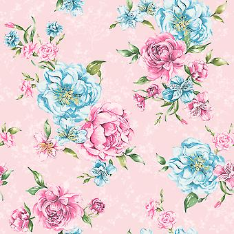 Josephine Wallpaper Flowers Flora Leaves Motif Bold Pink & Blue Holden Decor
