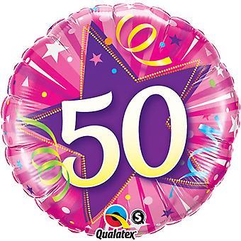 Qualatex 18 pulgadas 50 años brillante estrella Circular cumpleaños globo de la hoja