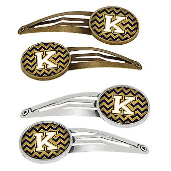 Letter K Chevron Navy Blue and Gold Set of 4 Barrettes Hair Clips
