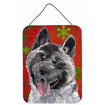 Akita Red Snowflakes Holiday Christmas Wall or Door Hanging Prints