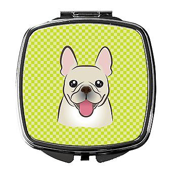 Checkerboard Lime Green French Bulldog Compact Mirror