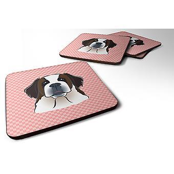 Set of 4 Checkerboard Pink Saint Bernard Foam Coasters