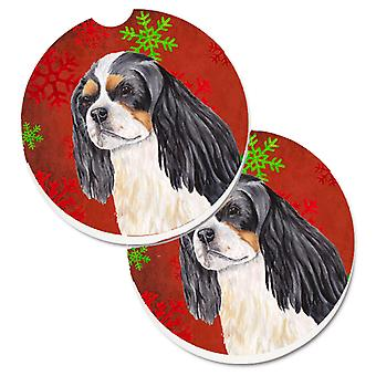 Cavalier Spaniel Red and Green Snowflakes Holiday Christmas Set of 2 Cup Holder