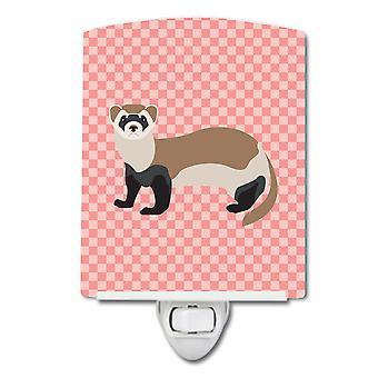 Carolines Treasures  BB7878CNL Ferret Pink Check Ceramic Night Light