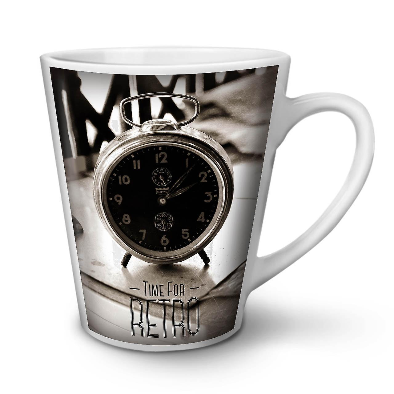 OzWellcoda Latte Céramique Café Blanche Horloge Tasse 12 Photo Nouvelle En Rétro ybvIYf76g