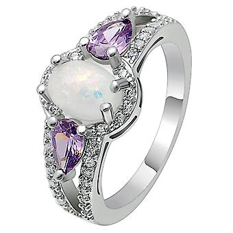 Chelsey Oval Shape Lab Created Fire Opal Purple CZ  Ring - Ginger Lyne Collection