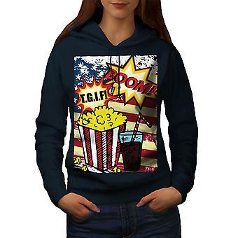 Popcorn and Coke Women NavyHoodie | Wellcoda