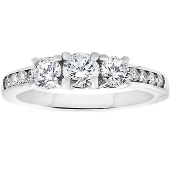 1ct 3-stone Diamond Engagement Ring 14K White Gold