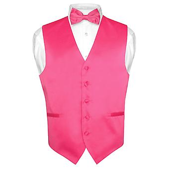 Men's Dress Vest & BowTie Solid Bow Tie Set for Suit Tux