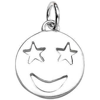 Beginnings Star Eyes Emoji Pendant - Silver