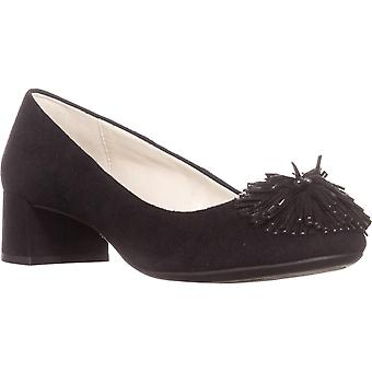 AK Anne Klein Sport Happy Fringe Kitten Pumps, Black/Black