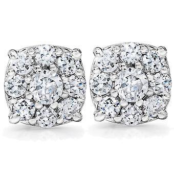 1 Karat Halo Diamant Ohrstecker 14K White Gold