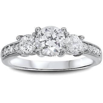 1 1 / 2ct tre Stone Round Diamond forlovelsesring 14K hvitt gull