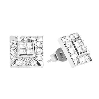 Iced out bling earrings box - HOT SQUARE silver