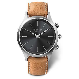 Kronaby 41mm SEKEL Black Dial Brown Leather Strap A1000-3123 Watch