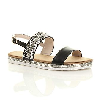 Ajvani womens flat low heel strappy diamante buckle summer holiday sandals