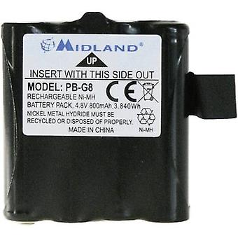 Walkie-talkie battery Midland Replaces original battery PB G6/G8 4.8 V 800 mAh