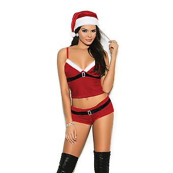 Elegant Moments Womens Sexy Santa's Helper Velvet Festive Holiday Cami Set