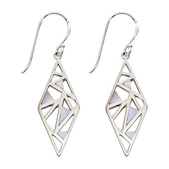 Elements Silver Mother of Pearl Inlay Cut Out Drop Earrings - Silver/White