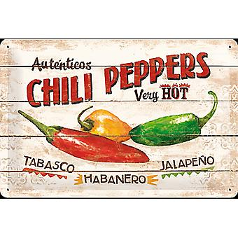Chili Peppers Embossed Steel Sign (300Mm X 200Mm)