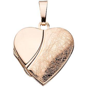 Medalion serca 2 zdjęcia 925 srebro złota róża pozłacana zawieszka do otwarcia