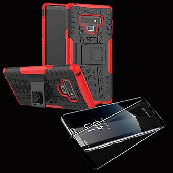 Hybrid case bag 2 piece red Samsung Galaxy touch 9 N960 + 4 d hard glass black