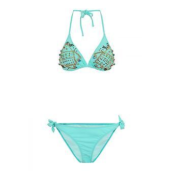 Little Mistress Swimwear Bead Detail Triangle Bikini In Aqua