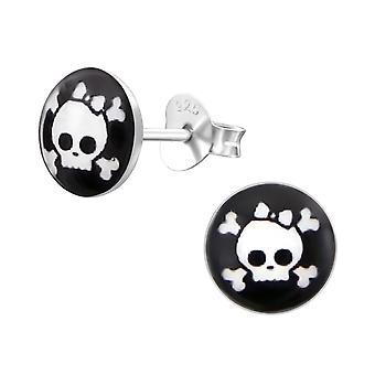 Skull - 925 Sterling Silver Colourful Ear Studs - W19731x