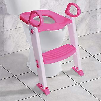 Baby Toddler Ladder Step Potty Training Toilet Seat Gripper Handles for Stability and Confidence (Pink)