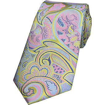 Posh and Dandy Edwardian Paisley Silk Tie - Lemon Yellow/Pink