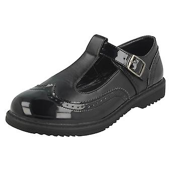 Girls Cool For School T-Bar Brogue School Shoes H2435