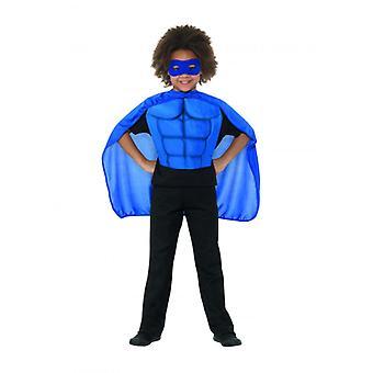 Kids Superhero Kit Blue, Eyemask EVA & Cape,Boys Fancy Dress Age 8-12