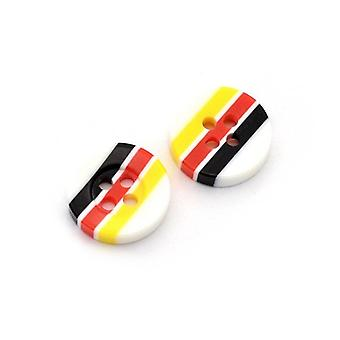 Packet 5 x Multicolour Resin 13mm Round 4-Holed Patterned Sew On Buttons HA14255