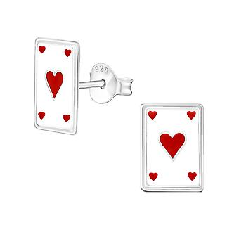 Playing cards - Epoxy Colour + 925 Sterling Silver Colourful Ear Studs - W7229X